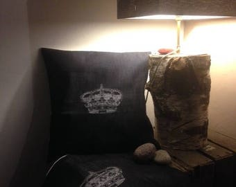Raw denim with applique pillow cover Crown