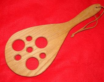 "Spanking Paddle - ""Crop Circles"" Adult Oak Spanking Paddle"