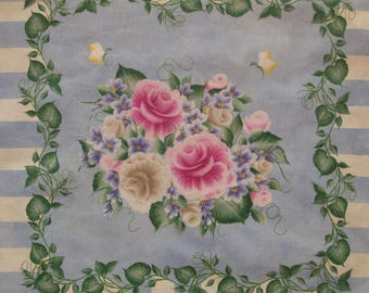 "2 Donna Dewberry Pillow Panels Fabric Vines and Flowers 18"" x 45"""