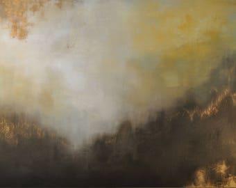 "Large Gold Leaf Landscape Painting - ""Golden Gift"" in 48"" x 72"""