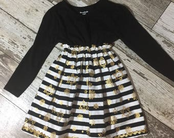 Little Girls Christmas Dress, Knit and cotton dress, sparkly Dress, pullover Dress Size 3, RTS