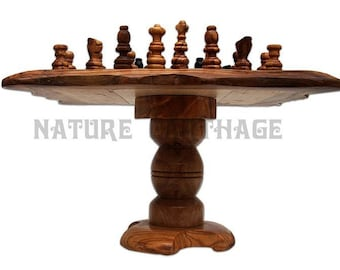 Mother's day gift, parents present, Olive wood chess set board with stand, unusual gift, mom present, dad gift, birthday gift, home decor