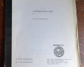 A Midsummer Night's Dream Play Script New York Shakespeare Festival 1982 Delacorte Shakespeare in the Park