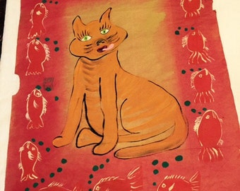Orange Kitty Cat With Fish original painting marked 1/2 off