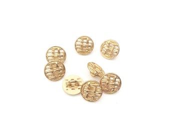 4 Gold Metal Buttons, Fancy Metal Button, Vintage