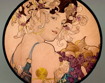 Mucha Fruit, Mucha kilnfired glass roundel, Mucha stained glass, Mucha suncatcher, Mucha kilnfired stained glass, Mucha, Mucha vitrail, art