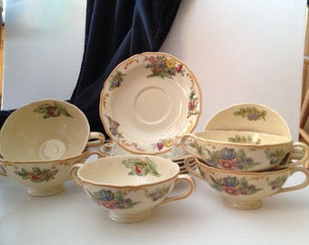 Six (6) Royal Doulton 'Floretta' Double-Handled Soup/Broth Bowls & Saucers - Marked D4782 Rd No 471638