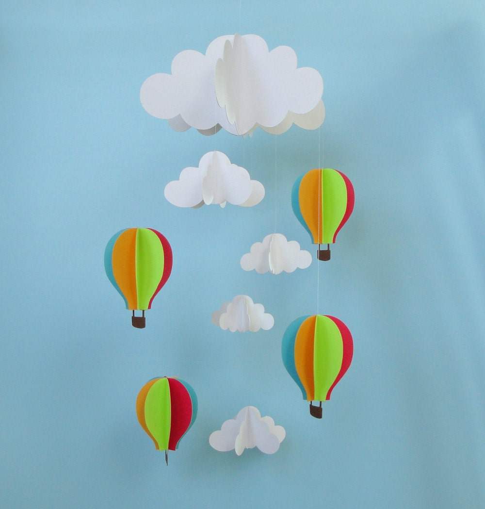 Baby mobile hot air balloons and clouds hanging baby zoom jeuxipadfo Choice Image
