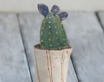 Miniature Succulent-Ceramic Cactus-Botanical Art-Ceramic Miniature-Desert Art