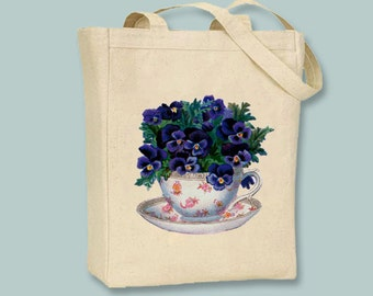 Vintage Pansies in a Tea Cup Canvas Tote -- Selection of sizes available