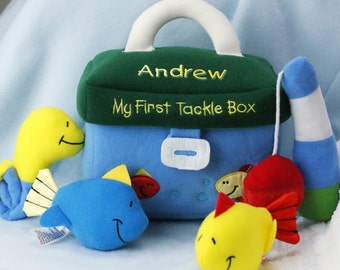 My First Tackle Box Personalized Playset, children, play set, velcro, blue, green, bobby, fish, fishing, toddler, infant, toy -gfyE9363180