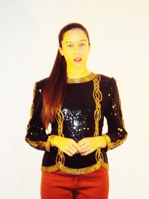 sequin encrusted top / black + gold / allover sequins / s,m