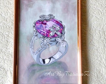 Pink Diamond Ring original painting watercolor and gouache art artwork artgift beautiful wall decor A4 size gift for her