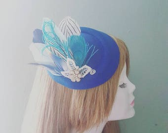 Navy Blue Turquiose White & Gold Statement Feather Lace and Crystal Flower PillBox Hat Fascinator