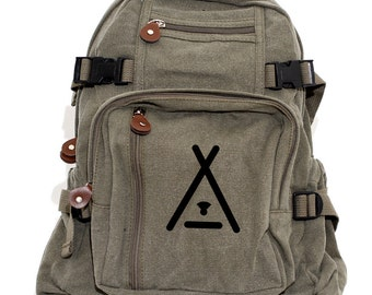 Camping Backpack, Canvas Backpack, Camping Gift, Rucksack, Travel Backpack, Hiking Backpack, Hipster, Tee Pee, Woodland, Gift for Men