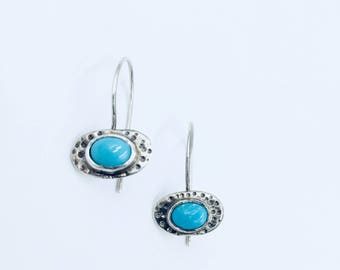 Sterling silver pebble earrings with turquoise