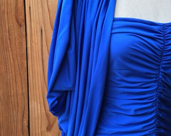 1980s David Robin Royal Blue Ruched Strapless Dress With Matching Jacket