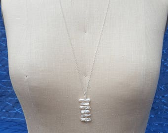 Fresh Water Pearl Pendant Necklace with Sterling Silver Chain in White Color