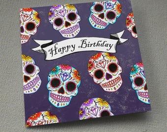 Sugar Skulls Birthday Card Day Of The Dead Tattoo Goth Rockabilly Candy Skulls