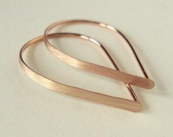 Flat Front Rose Gold Hoop Earrings, Extra Small Brushed Teardrop Hoops, Threader Hoop Earrings