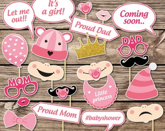 Baby Shower Photo Props  Girl baby shower Photo Booth Props  Printable Photo Booth Props  Baby Girl Printable Party Props baby shower