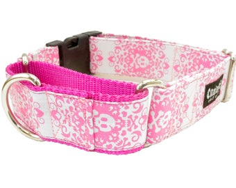 Dog Collar - Gray and Pink Skull Crossbones - Martingale & Buckle 3/4 - 2 Inch Width - XS - XXL