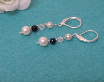 Wedding earrings, swarovski crystal faceted beads and pearls