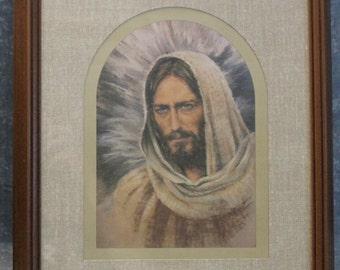 Vintage Home Interiors Framed Bust of Jesus