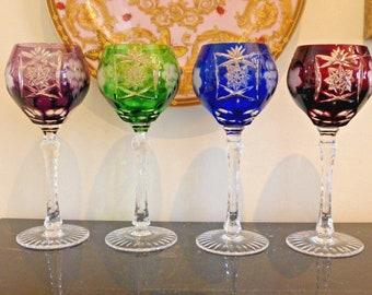 Ajka Marsala Cut To Clear Crystal Multicolor Wine Goblet Glasses Set of 4