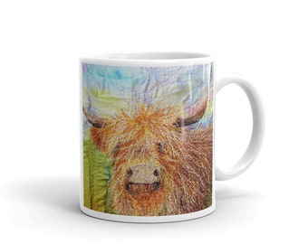 Highland cow Mug - highland cow gift - cow print - gifts for men - gifts for her - embroidery art