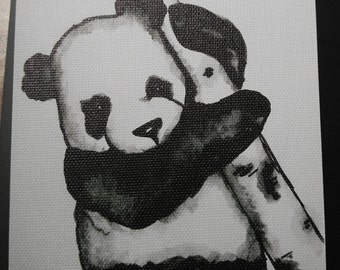 Panda, 4x6 small canvas with stand