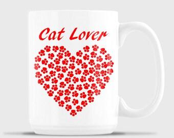 Cat Lover's Heart mug