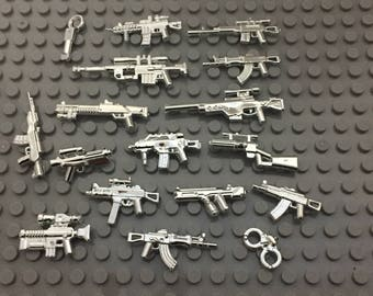 40 Pieces Weapon Pack - Minifigure Accesories For Figure -  (Rifle, Guns, Handcuffs) - In Chrome