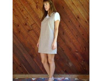 Plaid Sleeveless Mini Jumper Dress - Vintage 90s - S/M