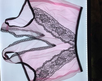 Sheer nylon open crotch panties vintage style fetish sissy