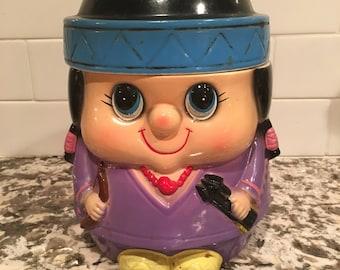 So Cute! Cookie Jar Big Eyes 70s 1970s Vintage
