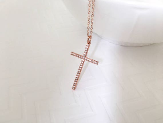 Large cross necklace rose gold cz cross necklace silver cz mozeypictures Image collections