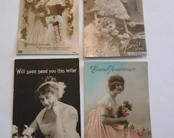 Early Vintage Postcards Depicting Woman - Set of 4