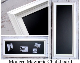 "WHITE FRAMED Chalkboard Long and Narrow Kitchen Chalkboard 41""x17"" Magnetic Chalk board Wood Chalkboard for Home Office Organizer"