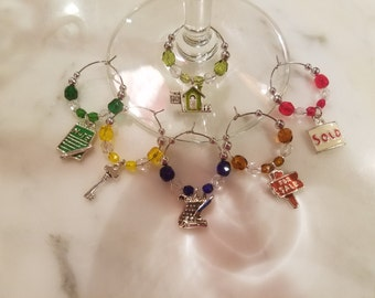 Realtor Real Estate House Sales Wine Charms