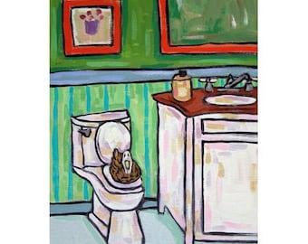Duck in the Bathroom Bird Art Print