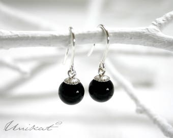 Onyx Pearl Earrings | Black/925 Silver