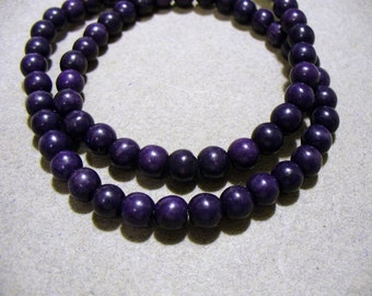 Magnesite Beads Gemstone Dark Purple Round 6mm