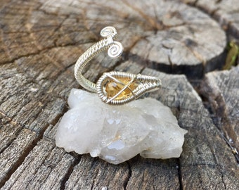 Citrine 14ct. Goldfill and Sterling Silver Wrap Ring