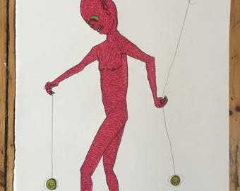 Demon playing with yo-yos