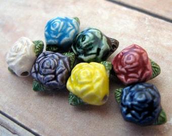 20 Tiny Rose Beads - mixed