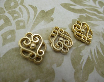 Gold Scroll Connectors - Gold Drop Links -  Chandelier Earring Findings - 2 Loops - Gold Plated Jewelry Supplies - Qty 12 *NEW ITEM*