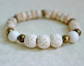 Essential Oil Bracelet, Lava Stone, Howlite, Essential Oils Jewelry, Oil Diffuser Bracelet, Womens Lava Bracelet, Essential Oil, White Lava