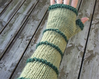 Light and dark green arm warmers