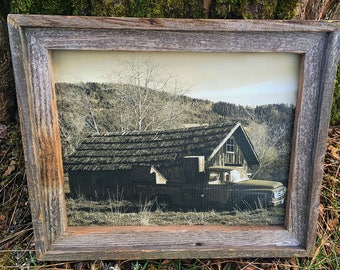 Antique Truck and Barn  Black and White on Canvas Framed by Re-purposed Century Old Barnwood